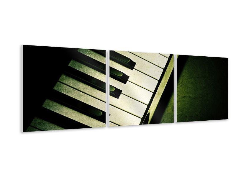 Panorama Hartschaumbild 3-teilig Close Up Klavier