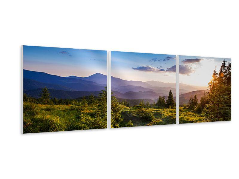 Panorama Hartschaumbild 3-teilig Friedliche Landschaft