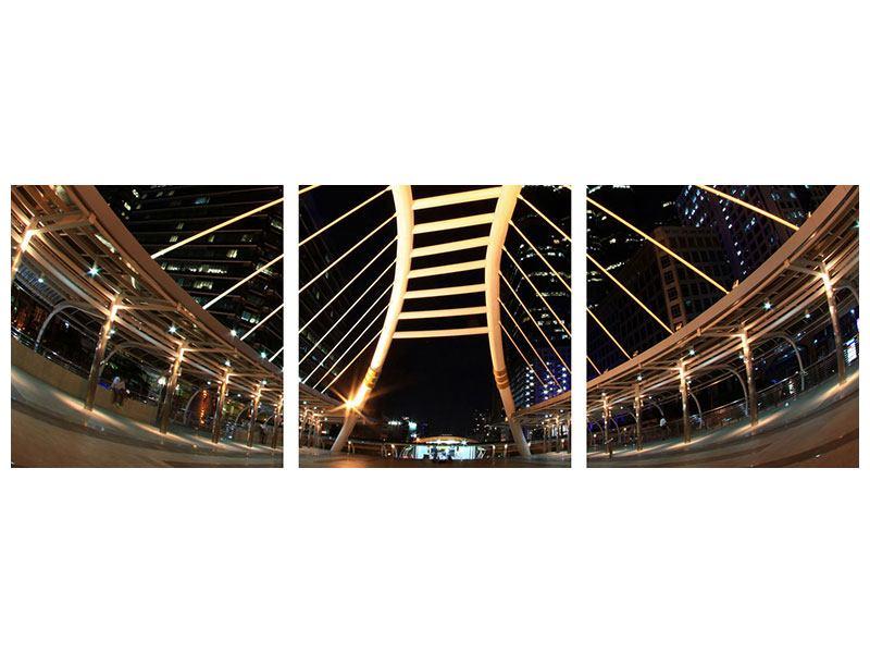 Panorama Hartschaumbild 3-teilig Avantgardistische Brücke