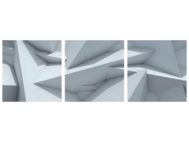 Panorama Hartschaumbild 3-teilig 3D-Kristallo