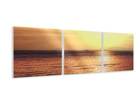 Panorama Hartschaumbild 3-teilig Sonnenuntergang an der See