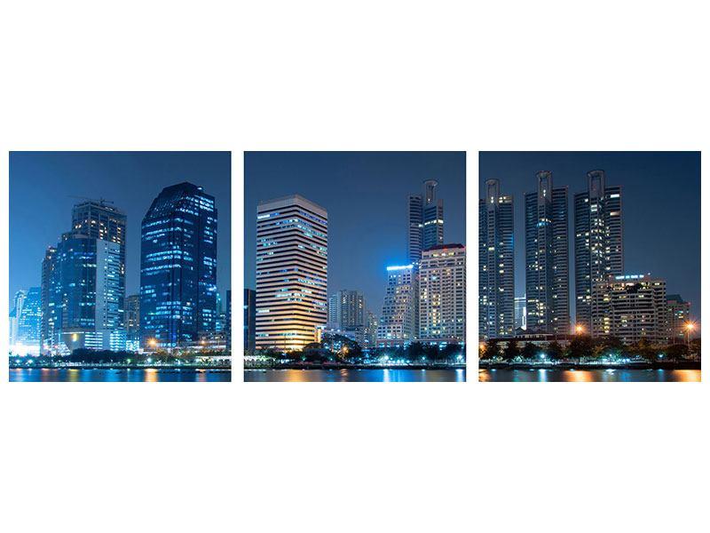 Panorama Hartschaumbild 3-teilig Skyline Bangkok bei Nacht