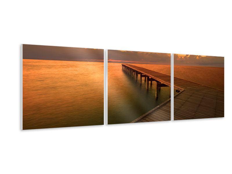 Panorama Hartschaumbild 3-teilig Der Steg am Meer