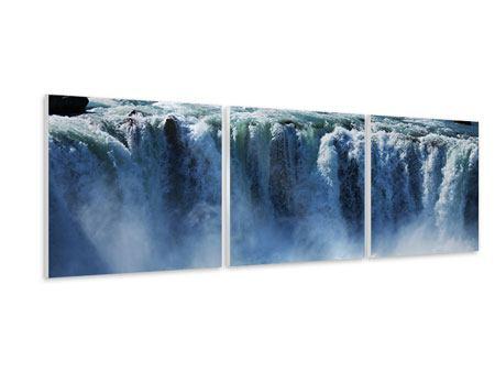 Panorama Hartschaumbild 3-teilig Mächtiger Wasserfall