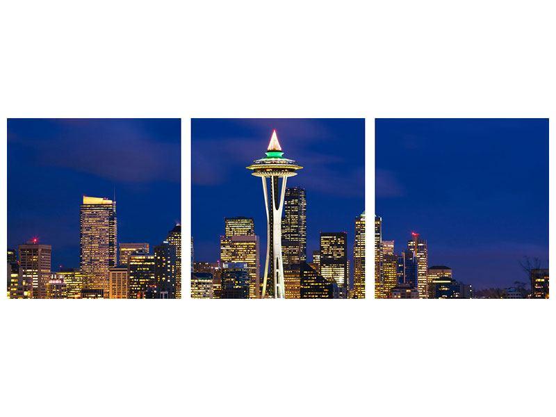 Panorama Hartschaumbild 3-teilig Skyline Seattle