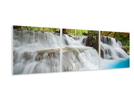 Panorama Hartschaumbild 3-teilig Erawan Wasserfall