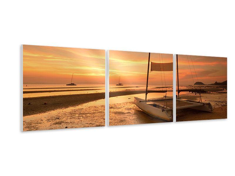 Panorama Hartschaumbild 3-teilig Sonnenuntergang am Strand