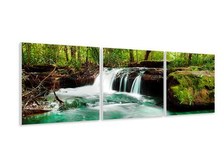 Panorama Hartschaumbild 3-teilig Der Fluss am Wasserfall