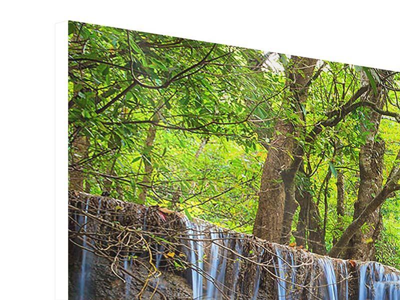 Panorama Hartschaumbild 3-teilig Wasserfall Si Nakharin
