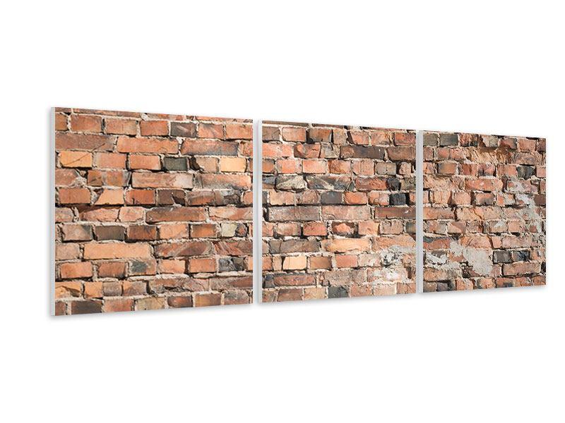 Panorama Hartschaumbild 3-teilig Alte Backsteinmauer