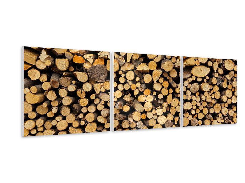 Panorama Hartschaumbild 3-teilig Brennholz