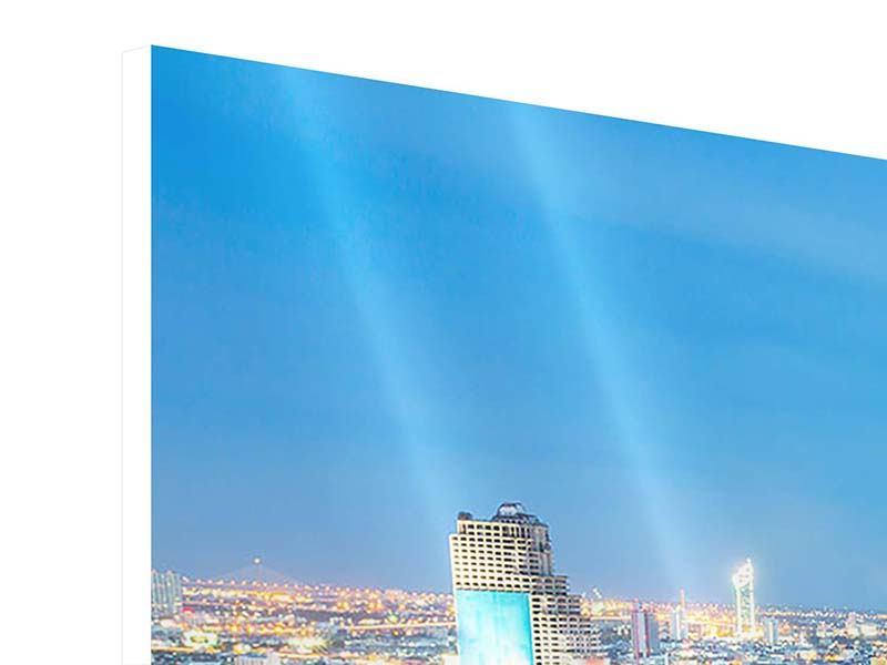 Panorama Hartschaumbild 3-teilig Skyline Bangkok bei Sonnenuntergang