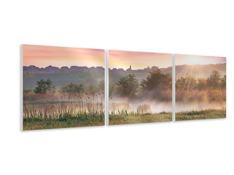 Panorama Hartschaumbild 3-teilig Sonnenuntergang am Hügel