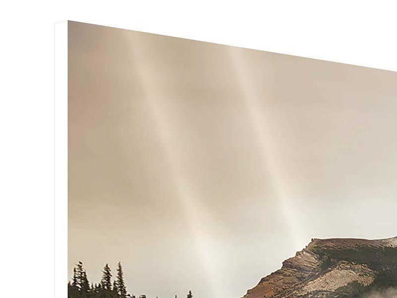 Panorama Hartschaumbild 3-teilig Spiegelung im Glacier Nationalpark