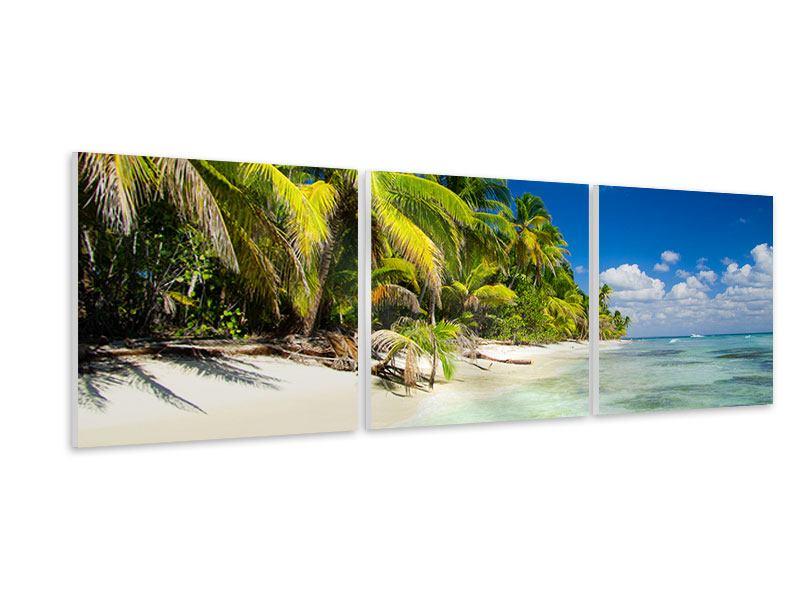 Panorama Hartschaumbild 3-teilig Die einsame Insel