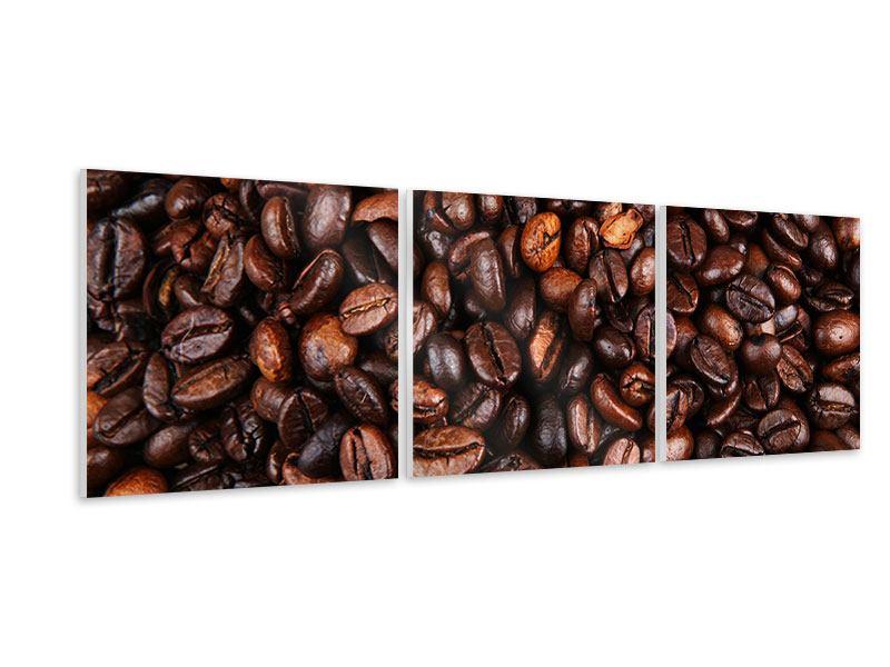 Panorama Hartschaumbild 3-teilig Kaffeebohnen in XXL