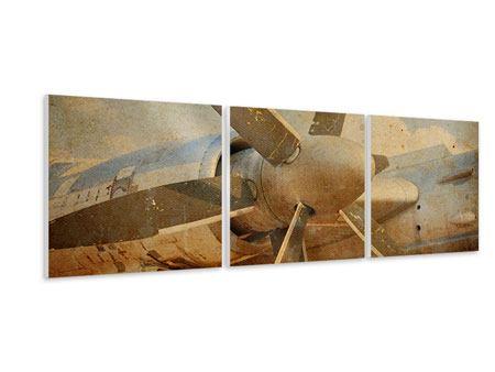 Panorama Hartschaumbild 3-teilig Propellerflugzeug im Grungestil