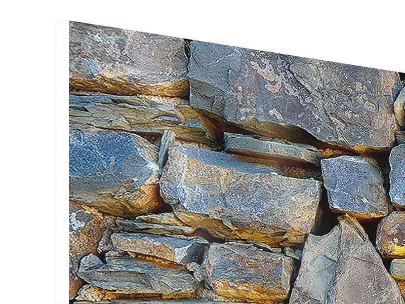 Panorama Hartschaumbild 3-teilig Natürliche Steinmauer