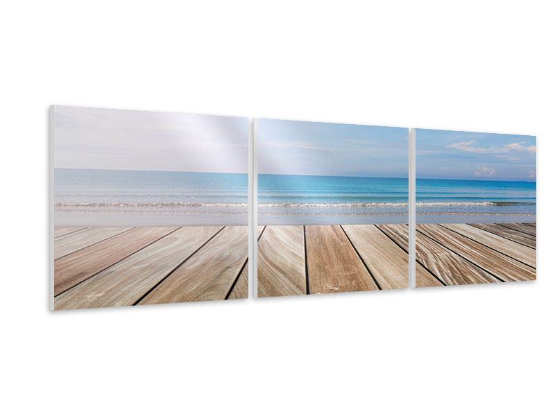 Panorama Hartschaumbild 3-teilig Das schöne Strandhaus