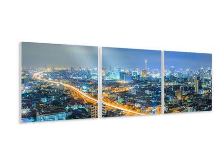 Panorama Hartschaumbild 3-teilig Skyline Bangkok im Fieber der Nacht