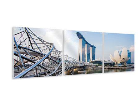 Panorama Hartschaumbild 3-teilig Singapur