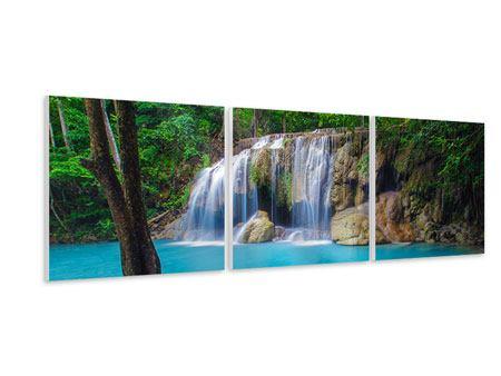 Panorama Hartschaumbild 3-teilig Naturerlebnis Wasserfall