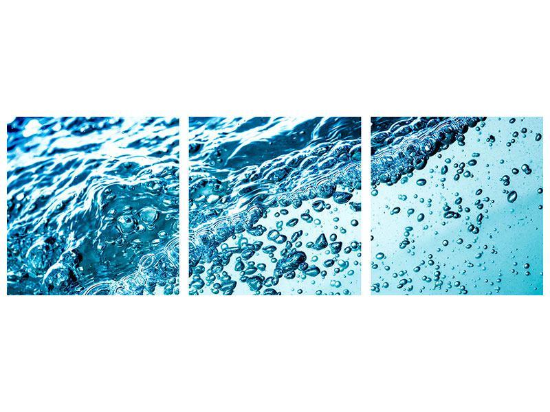 Panorama Hartschaumbild 3-teilig Wasser in Bewegung
