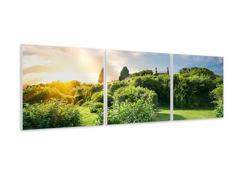 Panorama Hartschaumbild 3-teilig Sonnenaufgang im Park