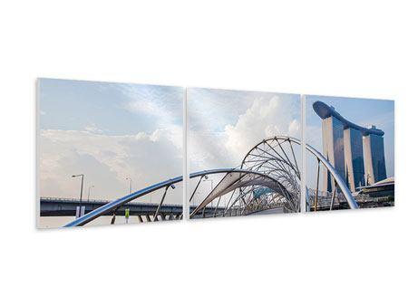 Panorama Hartschaumbild 3-teilig Helix-Brücke