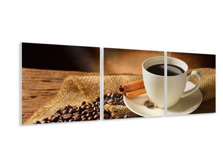 Panorama Hartschaumbild 3-teilig Kaffeepause