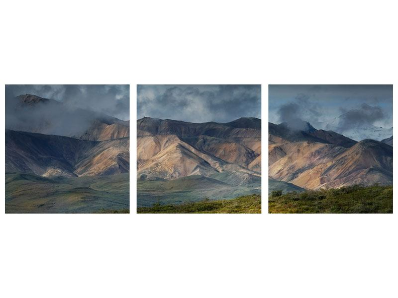 Panorama Hartschaumbild 3-teilig Silberstreifen