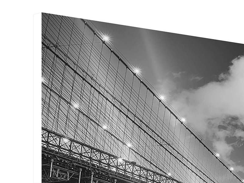 Panorama Hartschaumbild 3-teilig Skyline Schwarzweissfotografie Brooklyn Bridge NY