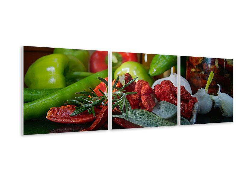 Panorama Hartschaumbild 3-teilig Mediterranes Gemüse