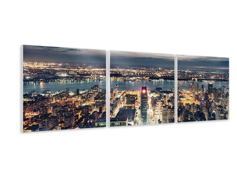 Panorama Hartschaumbild 3-teilig Skyline Manhattan Citylights