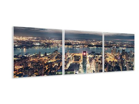 Panorama Hartschaumbild 3-teilig Skyline Manhattan Citylights
