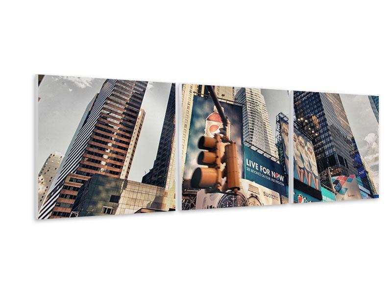 Panorama Hartschaumbild 3-teilig Times Square