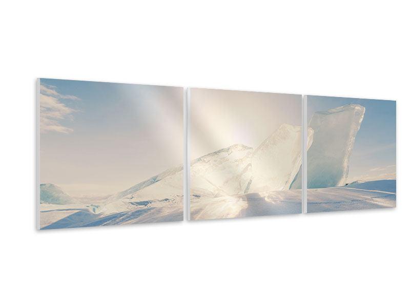 Panorama Hartschaumbild 3-teilig Eislandschaft