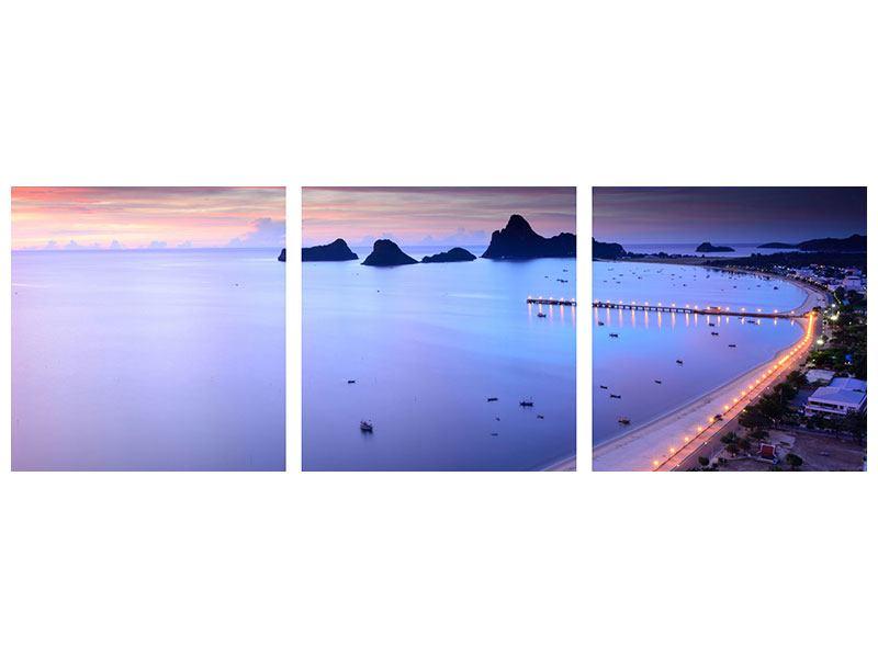 Panorama Hartschaumbild 3-teilig Ano Manao Bucht