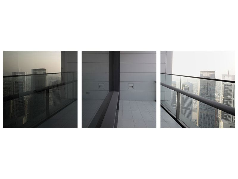Panorama Hartschaumbild 3-teilig Balkon in Dubai