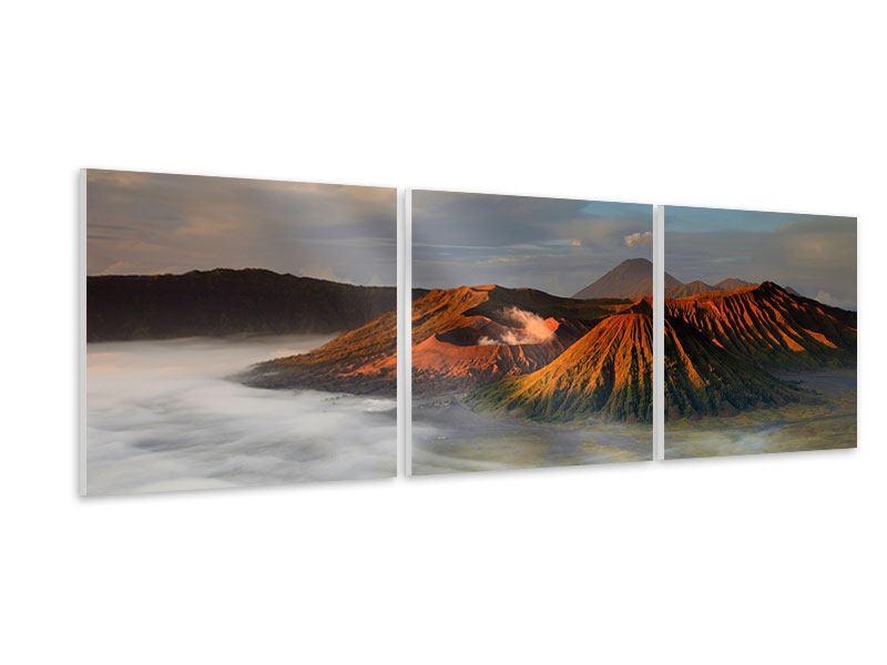 Panorama Hartschaumbild 3-teilig Der Bromo Vulkan