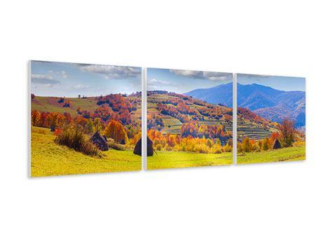 Panorama Hartschaumbild 3-teilig Herbstliche Berglandschaft