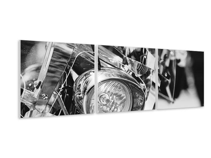 Panorama Hartschaumbild 3-teilig Motorrad Close Up