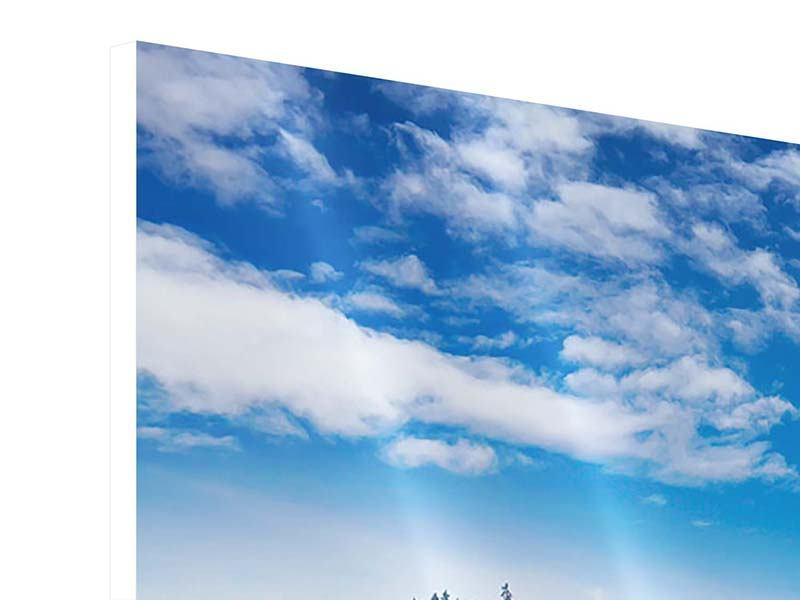 Panorama Hartschaumbild 3-teilig Wolken ziehen auf