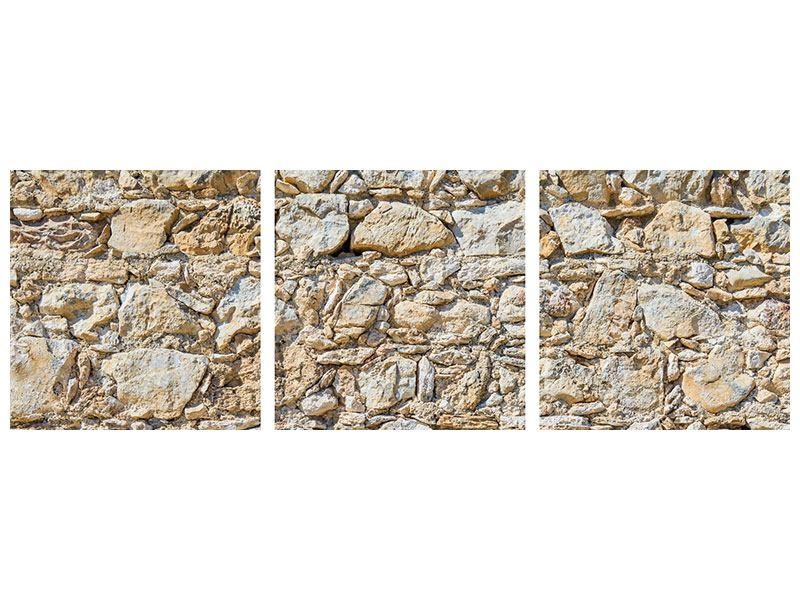 Panorama Hartschaumbild 3-teilig Sandsteinmauer