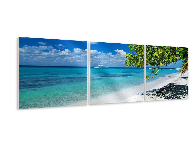 Panorama Hartschaumbild 3-teilig Happy Beach