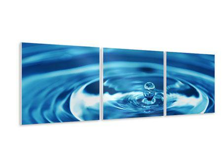 Panorama Hartschaumbild 3-teilig Der Wassertropfen