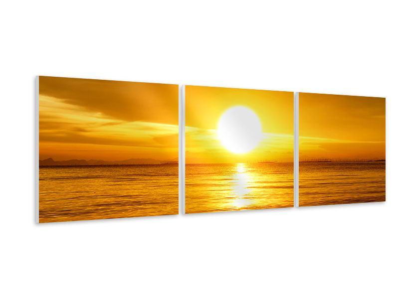 Panorama Hartschaumbild 3-teilig Traumhafter Sonnenuntergang