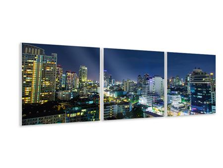 Panorama Hartschaumbild 3-teilig Skyline Nachts in Bangkok