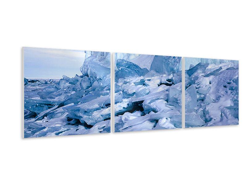Panorama Hartschaumbild 3-teilig Eislandschaft Baikalsee