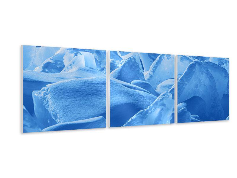 Panorama Hartschaumbild 3-teilig Eis des Baikalsees